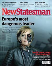"""Angela Merkel als Terminator: Hassparolen in Europa zwischen südlichen und nördlichen Ländern, Hassparolen in Afrika und östlichen Ländern zwischen den Religionen, sollten nicht mit """"Pressefreiheit"""" entschuldigt werden. Abb.: dpa / Bildfunk"""
