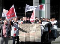 Streik der Beschääftigten bei Computer-Bild Foto: Agnes Schreieder