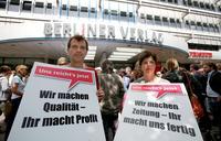 Solidaritätsstreik von Beschäftigten des Berliner Verlages in der Tarifrunde Redakteure in Tageszeitungen 2011. Foto: Ch. v. Polentz