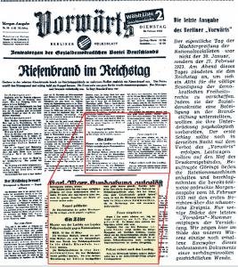 """Der """"Vorwärts"""" druckte anlässlich seines 80. Jubiläums 1956 diese """"zweite Version"""" ab, unter der Annahme, es handele sich um das """"einzige noch erhaltene Exemplar"""" der Zeitungsausgabe aus der Nacht des Reichstagbrandes. Abb.Archiv Hersch Fischler"""