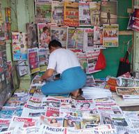 Zeitungsverkäufer in Rangun  Foto: Michael Lenz