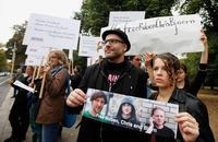 Protest vor der türkischen Botschaft in Berlin am 13. Oktober 2014 Foto: Christian von Polentz