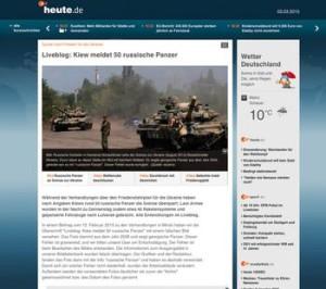 Bildverwechslung: Russische Panzer waren in Wahrheit georgische und das Photo war mehrere Jahre alt. http://www.heute.de/liveblog-zum-ukraine-gipfel-in-minsk-ringen-um-frieden-fuer-die-ukraine-37145464.html Foto: Screenshot