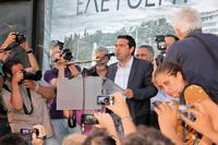 Der Vorsitzende von SYRIZA, Alexis Tsipras, auf der Kundgebung am 11. Juni Foto: Heike Schrader