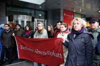 Verabschiedung der gekündigten Mitarbeiter des Berliner Abendblatts durch ihre Kollegen vom Berliner Verlag. Foto: Christian von Polentz
