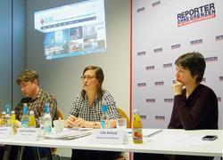 """Die """"Pressefreiheit auf der Krim ein Jahr nach der Annexion"""" war Thema einer Märzveranstaltung von Reporter ohne Grenzen in Berlin: Alexander Jankowski, Jutta Sommerbauer und Silke Ballweg von ROG (v.l.n.r.) Foto: ROG"""