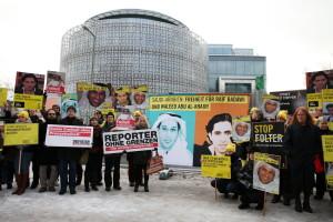 Mahnwache für Raif Badawi und seinen Anwalt Waleed Abu Al-Kahir vor der Botschaft des Königreiches Saudi-Arabien Foto: Christian von Polentz