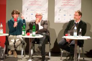 """Über """"Respekt und Rechte für Freie - und die beste Interessenvertretung"""" diskutierten Veronika Mirschel (ver.di), Frank Zimmermann (SPD) (m.) und Matthias Schirmer (RBB-Personalrat) (l.) sowie Benno Pöppelmann (DJV) Foto: Martha Richards"""