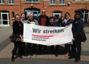 "Warnstreik beim ""Ludwigsburger Kreisboten"" Foto: ver.di"