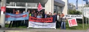 """Redakteurinnen und Redakteure des """"Mannheimer Morgen"""" beim Warnstreik Foto: ver.di"""