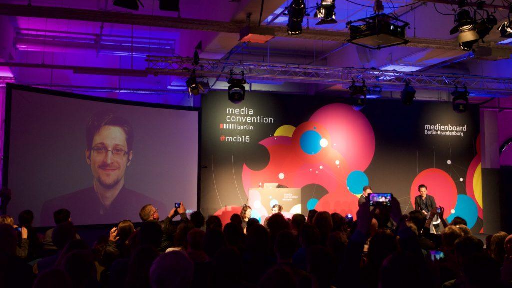 Edward Snowden zur Fourth Revolution auf der re:publicaFoto: Martha Richards