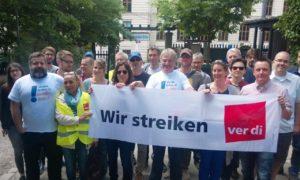 """Streikaktion der Beschäftigten bei """"Merkur"""" und """"tz""""Foto: Ertunc Eren"""