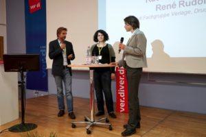 René Rudolf und Rachel Marquardt aus der Fachgruppe Verlage, Druck und Papier mit dem Ausblick auf die künftige ver.di-Arbeit