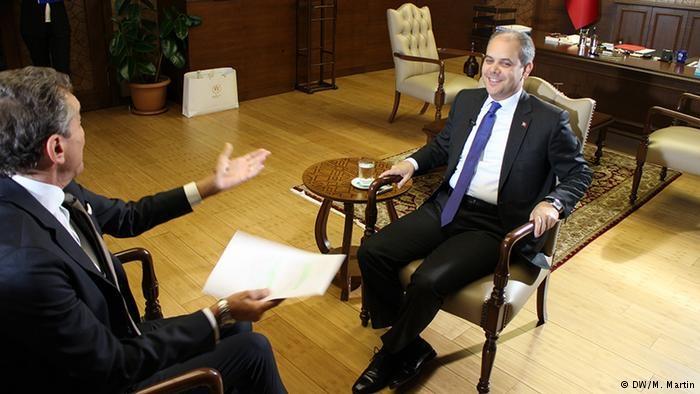 Michel Friedmann (l.) interviewt für die DW den türkischen Sprotminister Akif Cagatay Kilic in Ankara Foto: DW/M.Martin
