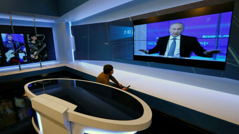 Fernsehstudio eines privaten TV-Senders in Krasnoyarsk, RusslandFoto: REUTERS/Ilya Naymushin
