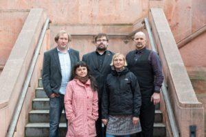 Die ver.di-Jury: Ludwig Sporrer, Nancy Brandt, Tobias Baumann, Cornelia Hudl und Jan-Markus Holz (v.r.n.l.)  Foto: Stefan Giessner