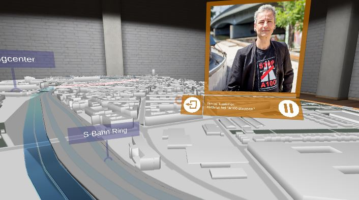 Screenshot der Simulation des Autobahnneubauprojekts A100Bild: