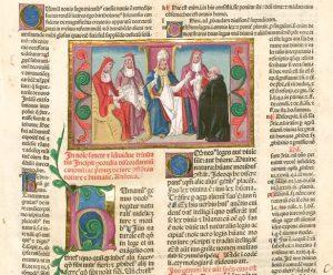 """Das """"Decretum Gratiani"""" ist eine wichtige Gesetzessammlung aus Bologna,12. Jahrhundert. Die illuminierte Handschrift stammt aus dem 13. Jahrhundert, wird in der Bayerischen Staatsbibliothek in München aufbewahrt und ist als Digitalisat auch in der World Digital Library zu bewundern."""