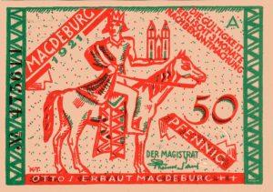 Notgeld der Stadt Magdeburg von 1921 aus den Beständen des Landesarchivs Baden-Württemberg im Archivportal D der Deutschen Digitalen Bibliothek.