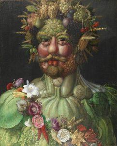 Kaiser Rudolf II. als Vertumnus, dem römischen Gott der Jahreszeiten und Früchte. Das Gemälde (1590/91) stammt von Guiseppe Arcimboldo und hängt in Schloss Skokloster, Schweden. Die Fotografie, die auch in der Europeana zu finden ist, stammt von Erik Lernestål.