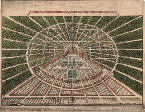 Stadtansicht von Karlsruhe von Heinrich Schwarz (1721). Der kolorierte Lichtdruck gehört dem Stadtarchiv Karlsruhe, hier die Ansicht in der Deutschen Digitalen Bibliothek.